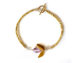 Mystic pink quartz and goldfilled bracelet