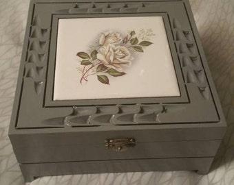 Upcycled grey rose jewelry box