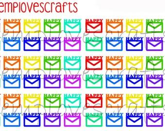 60 happy mail envelopesfor erin condren life planner, daytimer, filofax or any planner
