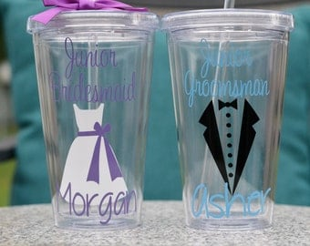 Junior Groomsman, Junior Bridesmaid, Ring Bearer Gift, Ring Security, Usher, etc. Gift - you pick colors and add name for free, 1 tumbler