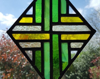 Stained glass panel - 'Weave - Primrose'
