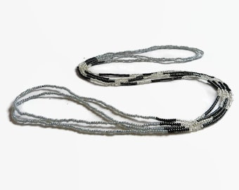 Seed bead necklace, grey  black silver, long color block necklace, grey black and silver beaded necklace, long layer necklace grey and black