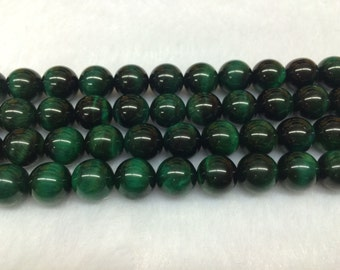 8mm Round Tigereye Green Dyed Beads - 9116