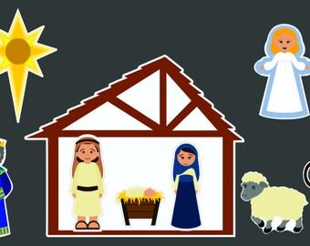 Nativity Set Static Cling