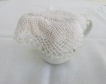 Antique / VIntage Clear Coloured Glass Beaded Crochet Lace Milk Jug Cover