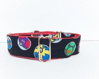 Poke balls martingale collar (dog collar, martingale, greyhound, cotton, balls, black, red, games, fun)