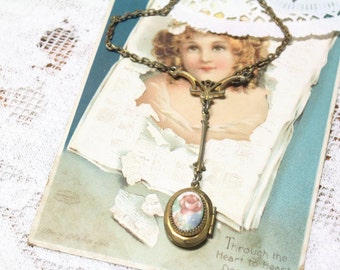 Antique Art Deco Enamel Flower Locket Pendant Picture Necklace Guilloche Lavalier Locket Necklace