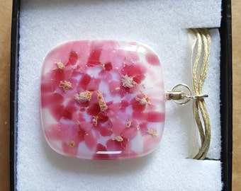 Fused Glass Pendant/Necklace - Pink and Gold (115)