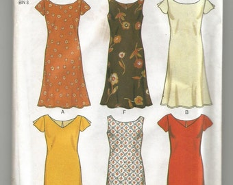 UNCUT 6828 New Look Sewing Pattern Dress w Sleeve & Neckline Variations Size 6 8 10 12 14 16
