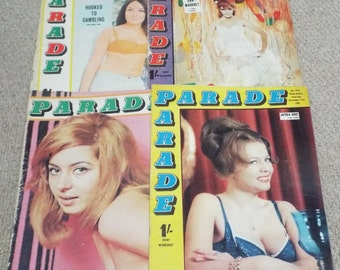 Parade - 4 Issues of 1966/68 Vintage Mens Magazine (g)