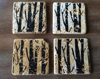 Black Birch Trees Stone Coasters- Set of 4