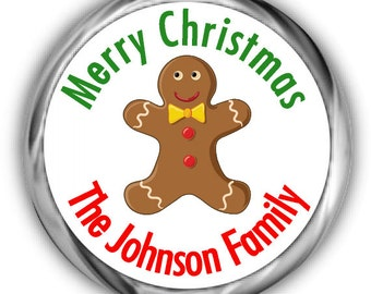 Gingerbread Man Hershey Kisses - Holiday and Christmas Sticker -  Personalized Candy Kiss Stickers