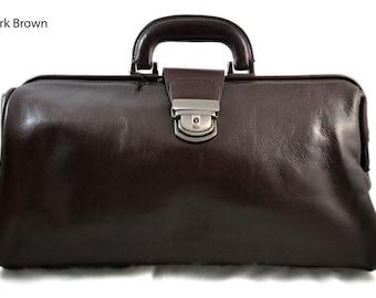Leather doctor bag messenger handbag ladies men leatherbag briefcase vintage duffle bag dark brown made in Italy luxury bag travel weekender