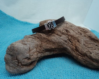 Unisex Soft Pliable Dark Brown Leather Bracelet with Silver Toned Cancer Survivor Ribbon and Survivor Slider Beads