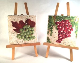 Pair of Gourmet Art Tile, Red Grapes and Green Grapes  Hand Painted Pumice Stone for Kitchen, Dining Room, or Home Bar, With Display Easel