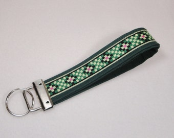 Hand Made Fabric Wristlet Key Fob Keychain