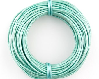 Natural Round Leather Cord Metallic Mint 1mm 10 meters (11 yards) Lead Free