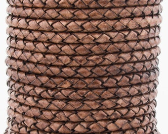 Brown Natural Dye Genuine Round Bolo Braided Leather Cord 4 mm 1 Yard