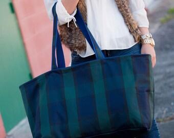 Plaid ultimate tote large tote tailgate bag huge monogram handbag tailgate bag purse handbag beach bag sorority