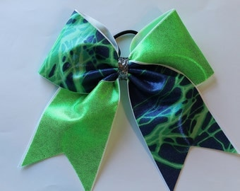 Cheer bow Lime green and blue lightning