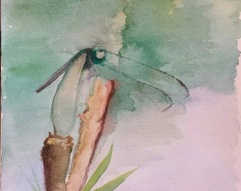 Dragonfly watercolor original painting