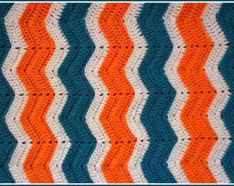 Handmade Crochet Turquoise/ Teal, Orange and White Baby Blanket
