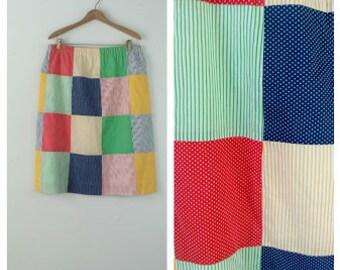 PATCHWORK Skirt Boho Hippie Multi-color Size Medium