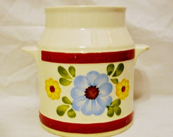 """Sacavem Milk Jug Ceramic Vase with Kitchen Measures-Handmade -Hand Painted for FTD by F.L. Sacavem H- 4.5"""" (11.43 cm) -Handmade in Portugal"""