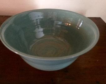 Turquoise Stoneware Serving Bowl - Wheel Thrown