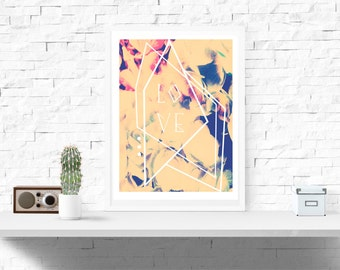 A4 Geometric Love Decor Print