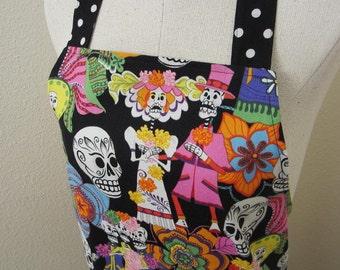 Day of the Dead apron, los novios, sugar skulls apron, folkloric apron, full length flounce apron, small to medium size