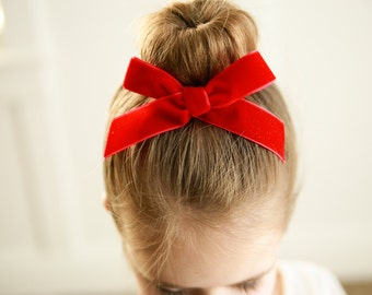 Large Velvet Valentines Red or Pink Hand-tied Bow Modern Simple Fabric Bow Nylon Elastic or Alligator Clip Baby Toddler Petite School girl