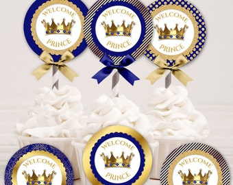 6 Designs Cupcake Topper 2 Inch Circles | Royal Blue & Gold Crowns Welcome Prince | Digital Instant Download