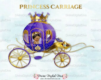 Princess Carriage Coach Purple & Gold | African American Baby Girl | Clipart Instant Download