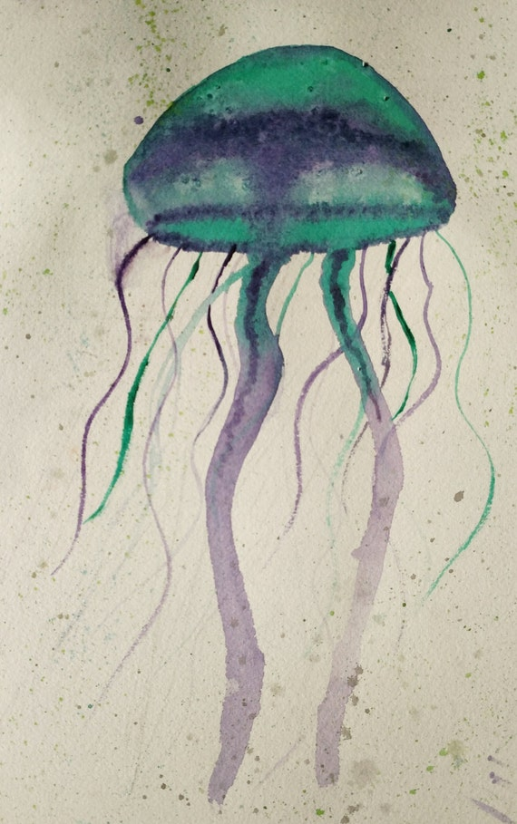 home decor jelly fish water color painting jellyfish home decor submited images