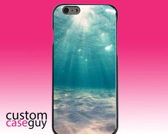 Hard Snap-On Case for Apple 5 5S SE 6 6S 7 Plus - CUSTOM Monogram - Any Colors - Underwater Sun Sand