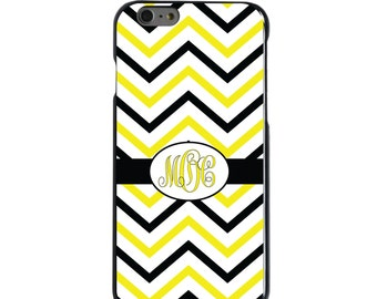 Hard Snap-On Case for Apple 5 5S SE 6 6S 7 Plus - CUSTOM Monogram - Any Colors - Black Yellow White Chevron Stripes