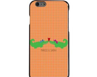 Hard Snap-On Case for Apple 5 5S SE 6 6S 7 Plus - CUSTOM Monogram - Any Colors - Gators Love Heart Name Orange Green