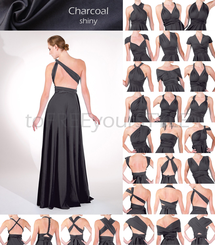 Long infinity dress in CHARCOAL grey gray shiny FULL