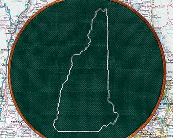 State of New Hampshire map, CROSS STITCH PATTERN