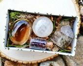 Self Grounding Crystal Kit ~ Smoky Quartz, Honey Calcite, Phantom Quartz, Garnet