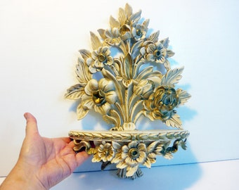 Vintage Ivory w/ Gold Ornate Syroco Shelf - Floral Baroque Wall Shelf Made in Italy Hollywood Regency - Shabby Chic Mid Century Copyright R