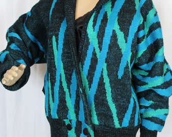 80s turquoise pattern sports coat