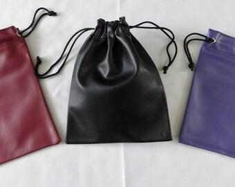 Faux Leather Drawstring Bag 21 x 16CM