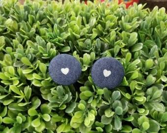Polka Heart- Handmade Fabric Button Earrings