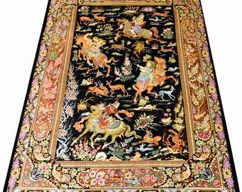 Masterpiece Pure Silk Qum HUnting Scene Persian Rug Qom Iran 5x7 feet