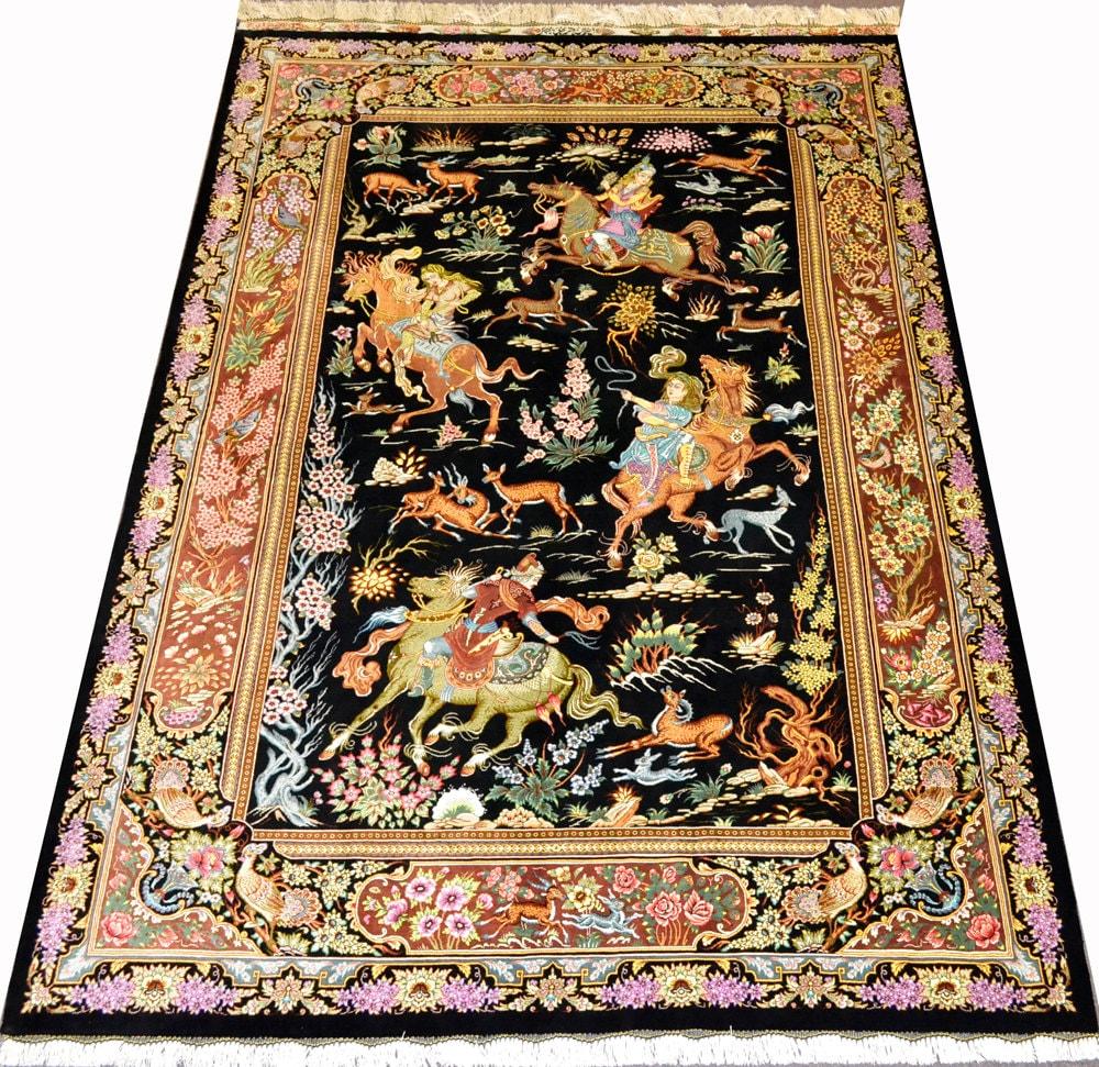Masterpiece Pure Silk Qum HUnting Scene Persian Rug Qom Iran