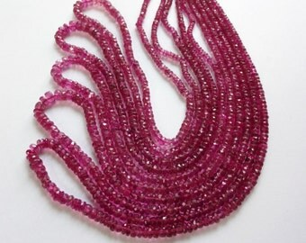 16-inch AAAA quality Rubelitte Pink Tourmaline faceted rondelle beads size 2.25-5mm GW535