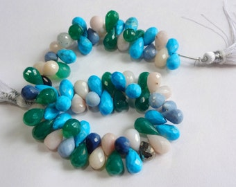 Disco Multi color mix gemstone AAA quality faceted tear drop briolette size 8.5-12mm sold per 8-inch strand GW792