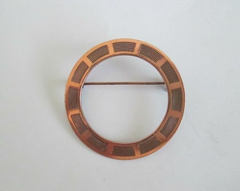 Copper Brooch With Lines. Copper Circle Brooch.